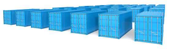 Blue shipping cubes Royalty Free Stock Photography