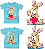 Blue  shirt with cute bunny - vector Royalty Free Stock Photos
