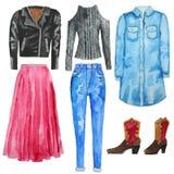 Blue shirt dress. Jeans. High waist jeans. Black biker jacket. Pink skirt. Boots. Hand drawn watercolor illustration. Stock Photo