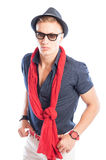 Blue shirt open with red scarf Royalty Free Stock Images