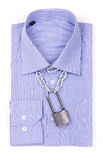 Blue shirt with a padlock Royalty Free Stock Photos