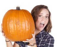 Blue shirt pumpkin look around Stock Image