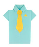 Blue shirt with yellow tie and shawl of origami. Stock Photo
