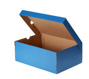 Blue shoe box. Nice blue cardboard shoe box, isolated on white background Royalty Free Stock Photos