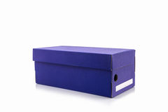 Blue shoe box with clipping path. Royalty Free Stock Photography