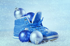 Blue shoe with Christmas decorations Stock Image