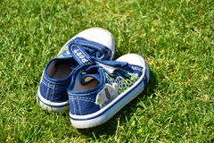 Blue shoe on the grass stock images