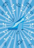 Blue shoe on the isolated background Royalty Free Stock Photography