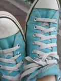 Blue Shoes. Blue Gym Shoes stock photos