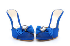 Blue shoes. Lady blue shoes with diamond on white background stock photos