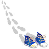 Blue shoes. This vector illustration depicts a pair of blue shoes and the footprints that were left walking Stock Photography