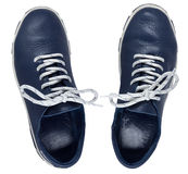 Blue shoes isolated on a white Royalty Free Stock Image