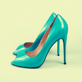 Blue shoes  on the white Royalty Free Stock Photography