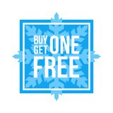 Buy One Get One Free Sign Square Winter Sale. Blue Shop Vector Sign For A Buy One Get One Free Off Clearance royalty free illustration