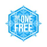 Buy One Get One Free Sign Hexagon Winter Sale. Blue Shop Vector Sign For A Buy One Get One Free Off Clearance royalty free illustration