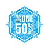 Buy One Get One 50% Off Sign Hexagon Winter Sale. Blue Shop Vector Sign For A Buy One Get One Free Off Clearance vector illustration
