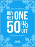 Buy One Get One 50% Off Sign Winter Sale. Blue Shop Vector Sign For A Buy One Get One 50% Off Clearance Stock Photos