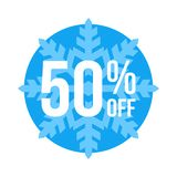 50% Off Sticker Winter Sale. Blue Shop Vector Sticker Sign For 50% Clearance Off royalty free illustration