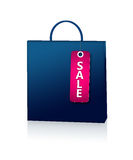 Blue shopping bag and discount card  over white Stock Photos