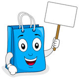 Blue Shopping Bag Holding Blank Sign Stock Image