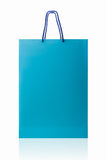 Blue shopping bag, isolated with clipping path on white backgrou Stock Photography