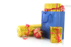 Blue shopping bag with presents Stock Photos