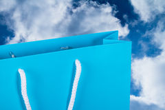 Blue Shopping Bag with Sky Royalty Free Stock Photography