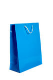 Blue shopping bag on white Royalty Free Stock Photo