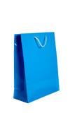 Blue shopping bag on white Royalty Free Stock Photo