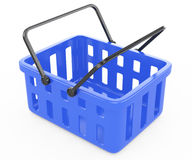 Blue shopping basket. On white. 3d rendered image Royalty Free Stock Photos
