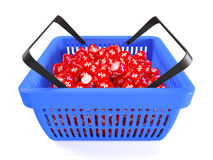 Blue shopping basket Royalty Free Stock Photography