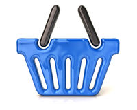Blue shopping basket icon. 3d illustration of blue shopping basket Royalty Free Stock Images