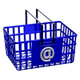 Blue shopping basket with sign @ Royalty Free Stock Images