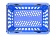 Blue shopping basket top view, 3D rendering. On white background Royalty Free Stock Photo