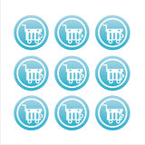 Blue shopping baskets signs Stock Photos