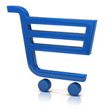 Blue shopping cart Stock Images