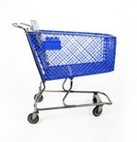 Blue shopping cart Royalty Free Stock Photography