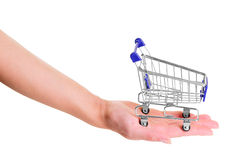 Blue shopping cart Stock Image
