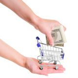 Blue shopping cart Stock Photo