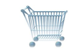 Blue shopping cart Royalty Free Stock Photos