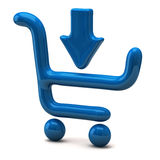 Blue shopping cart and arrow Stock Images