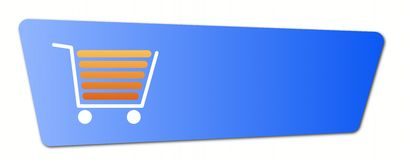 Blue Shopping Cart Button. Blue shopping cart  button with a shopping cart on white background Stock Photography