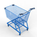 Blue shopping cart Royalty Free Stock Photo