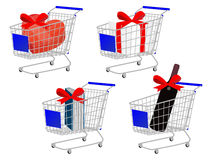 Blue Shopping Cart Gifts With Bows Stock Images
