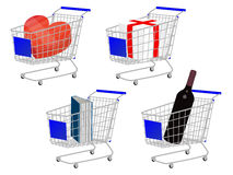 Blue Shopping Cart Gifts Royalty Free Stock Photos