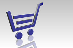 Blue shopping cart icon Stock Photos
