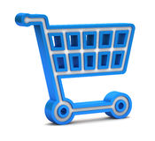 Blue shopping cart icon Royalty Free Stock Photography