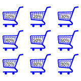 Blue Shopping Cart Icons Discount Stock Image