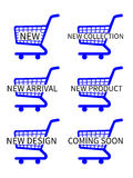 Blue Shopping Cart Icons New Arrivals Stock Photography