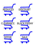 Blue Shopping Cart Icons Sale Royalty Free Stock Image
